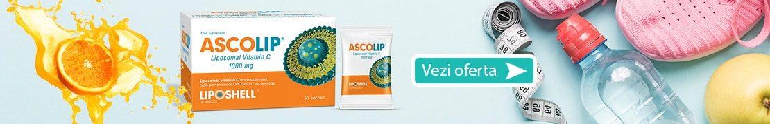 Vitamina C Lipozomala ASCOLIP 1000mg, 30 plicuri LIPOSHELL